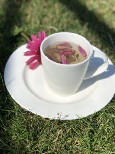 En hvit porselenskopp med solhatt-te av solhatt og kronblader