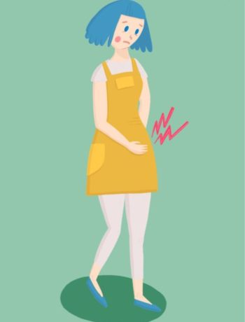 Illustrasjon kvinne med irritabel tarm og magesmerter på grønn bakgrunn