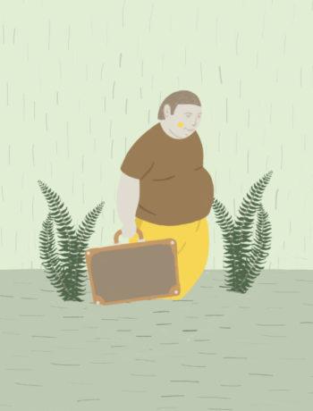 Illustrasjon av en t'overvektig mann med koffert til knes i vann i en sump